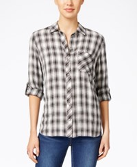 Kut From The Kloth Plaid Button Front Shirt White Black