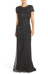 Adrianna Papell Women's Short Sleeve Sequin Mesh Gown Black