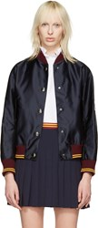 Miu Miu Navy Nylon Patches Bomber Jacket