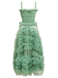 Molly Goddard Flo Gingham Organza Ruffle Midi Dress Green