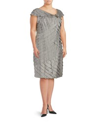 London Times Plus Platinum Tiered Sheath Dress