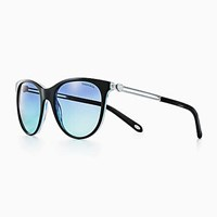 Tiffany And Co. Return To Love Round Sunglasses In Black Blue Acetate. Plastic
