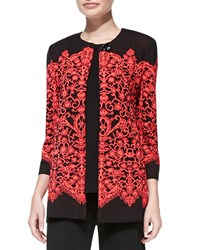 Misook Lace Print Long Jacket Petite Flamingo Black