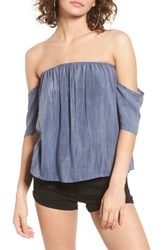 Sun And Shadow Women's Off The Shoulder Washed Top Navy Dusk