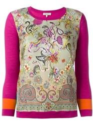 Etro Floral Panel Sweater Pink And Purple