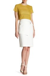 Bcbgmaxazria Knee Length Overlay Detail Skirt White