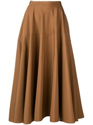 Aspesi Flared Midi Skirt Brown