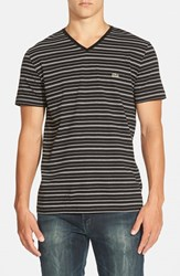 Men's Lacoste Regular Fit Stripe V Neck T Shirt Black White