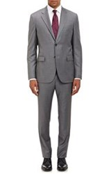 Barneys New York Men's Twill Two Button Suit Colorless