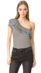 Splendid One Shoulder Ruffle Top Black