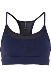 Koral Pacifica Mesh Trimmed Stretch Jacquard Knit Sports Bra Blue