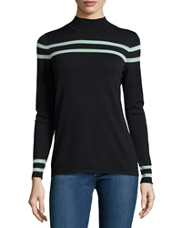 Catherine Catherine Malandrino Gemma Long Sleeve Striped Tee Black