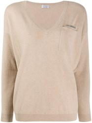Brunello Cucinelli Cashmere V Neck Jumper Neutrals