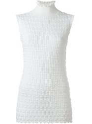 Carven Roll Neck Textured Tank White