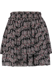 Derek Lam 10 Crosby By Tiered Pleated Printed Silk Mini Skirt Black