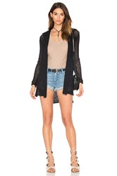 James Perse Open Stitch Hooded Cardigan Black