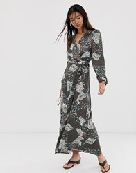 Only Paisley Wrap Maxi Dress Brown