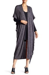Riller And Fount Baxter Cap Sleeve Cocoon Fringe Cardigan Gray