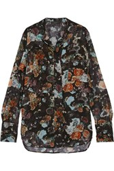 Belstaff Lissa Layered Printed Silk Chiffon Blouse Black