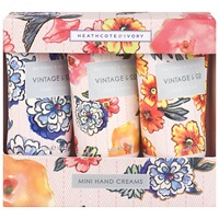 Heathcote And Ivory Vintage Pattern And Petals Mini Hand Creams 3 X 30Ml