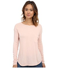 Three Dots Long Sleeve Boat Neck Tee Evening Sand Women's T Shirt Pink