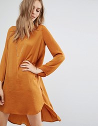 Vila Long Sleeve Drop Hem Dress Brown