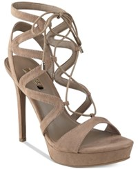 Guess Women's Aurela Strappy Lace Up Platform Dress Sandals Women's Shoes Dark Camel