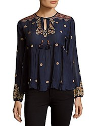 Max Studio Embroidered Voi Blouse Navy Multi