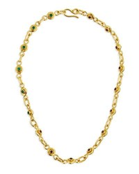 Jean Mahie 22K Gold Ruby And Emerald Station Necklace