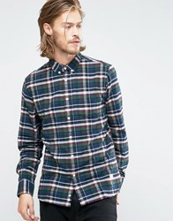 Penfield Barrhead Check Button Shirt In Regular Fit Brushed Cotton Blue