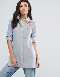 Influence Embroidered Longline Cotton Shirt Blue