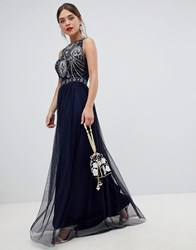 Frock And Frill Sleeveless Open Back Maxi Dress With Embellished Detail Deep Cobalt Blue