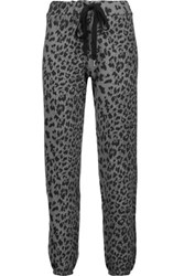 Current Elliott The Varsity Leopard Print Cotton Track Pants Gray