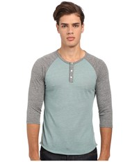 Alternative Apparel 3 4 Raglan Henley Eco True Green Surf Eco Grey Men's Long Sleeve Pullover Blue