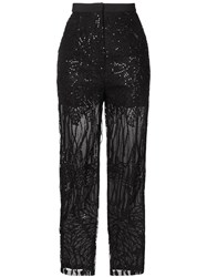Elie Saab Embroidered Sequin Trouseres Black