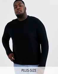 Only And Sons Textured Crew Neck Knitted Jumper In Black
