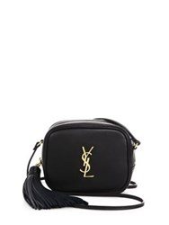 Saint Laurent Monogram Leather Tassel Blogger Pouch Black