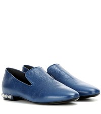 Balenciaga Embellished Leather Loafers Blue