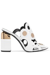 Pierre Hardy Penny Studded Cutout Leather Mules White