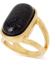 Kenneth Cole New York Gold Tone Flecked Stone Statement Ring