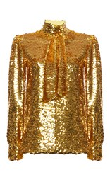 Msgm Sequin Tie Neck Blouse Gold