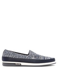 Prada St Tropez Technical Knitted Loafers Navy