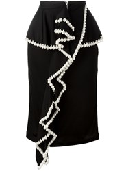 Givenchy Pearl Trim Ruffle Front Skirt Black