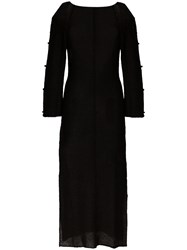 Eckhaus Latta Cutout Knitted Midi Dress Black