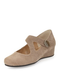 Neiman Marcus Matron Glossy Leather Mary Jane Wedge Taupe