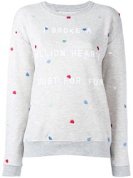 Zoe Karssen Embroidered Heart Sweatshirt Grey