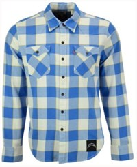 Levi's Men's San Diego Chargers Plaid Barstow Western Shirt Blue