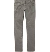 Incotex Slim Fit Textured Stretch Cotton Trousers Gray Green
