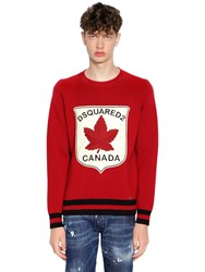 Dsquared Striped Wool Knit Sweater W Patch Red Black