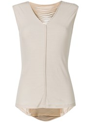 Giorgio Brato Leather Trimmed Slashed Back Top Nude And Neutrals